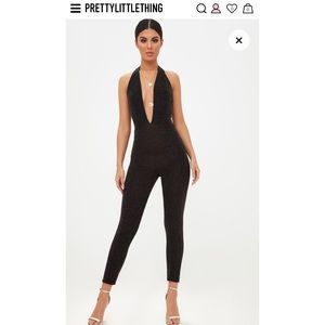 PrettyLittleThing black/Gold Jumpsuit